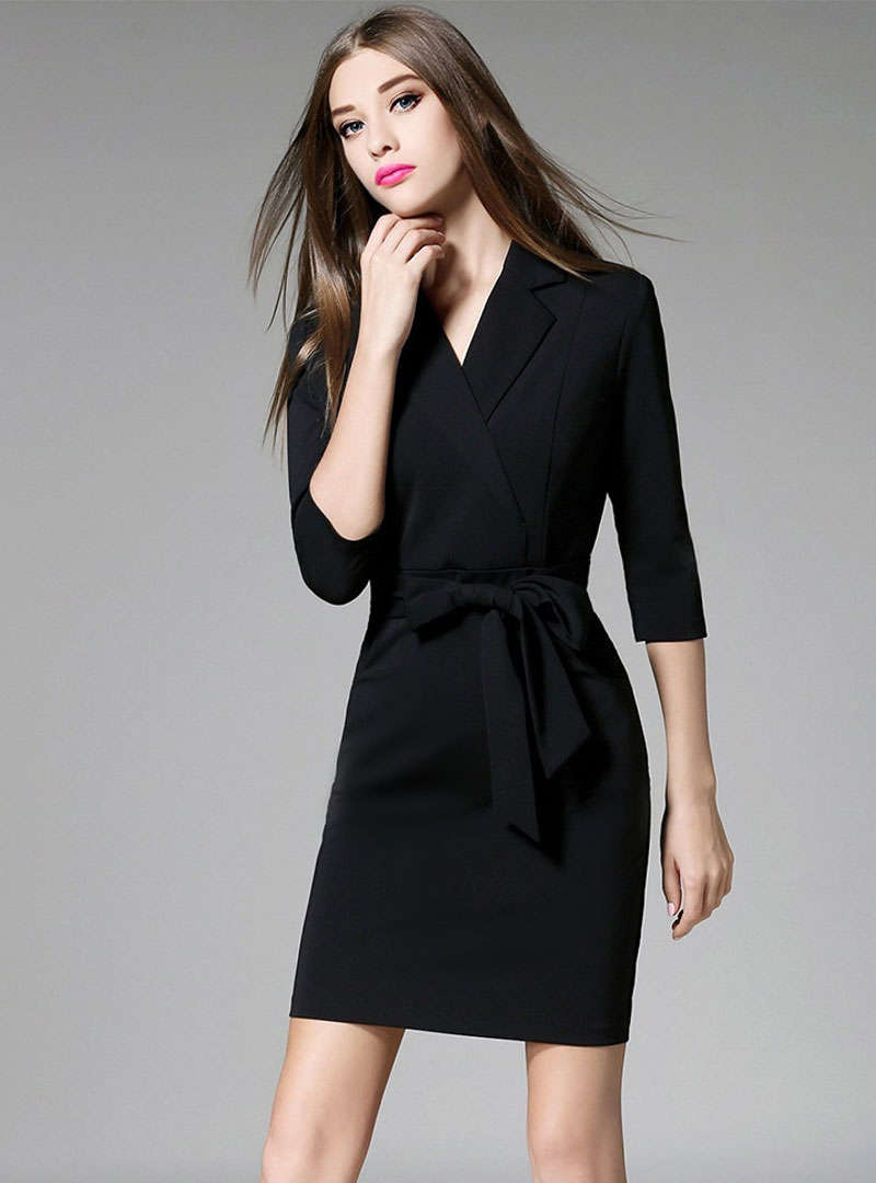 Black Bodycon Mini Dress With Ribbon