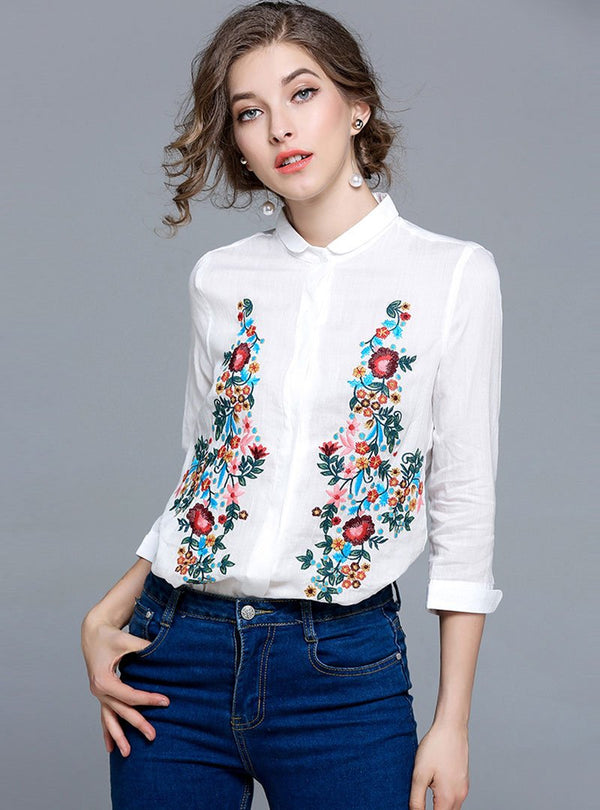 White Embroidered Doll Collar Blouse