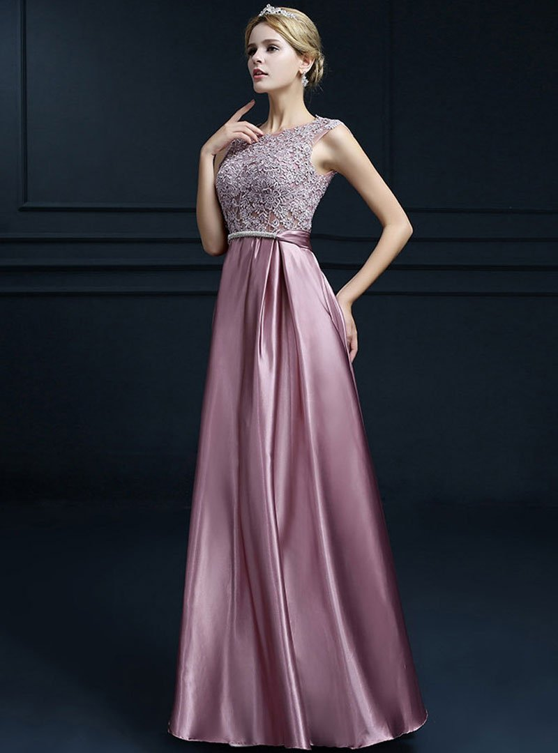 Solid Color Silk Embroidered Evening Dress