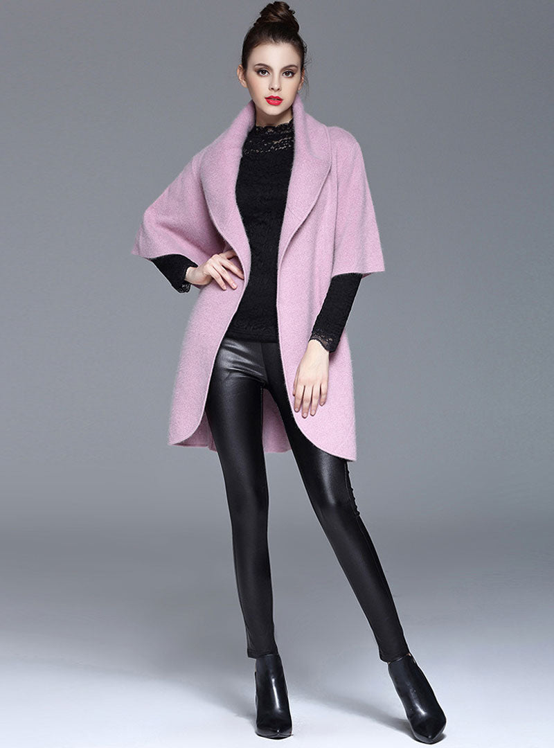 Pink Side Tied Waist Woolen Coat With Pockets