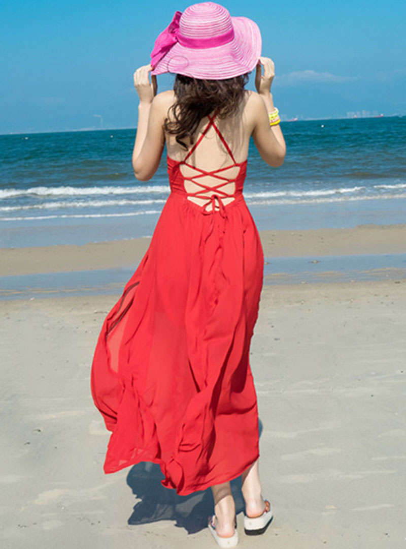 Red Split Chiffon Strap Maxi Dress