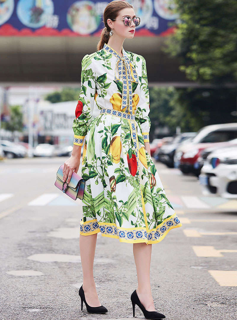 Green Floral Printed Bow Neck Two-Piece Outfits
