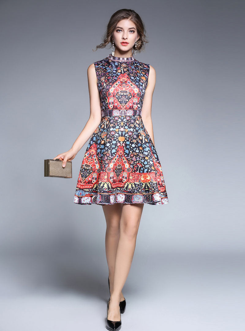 Floral Printed Cinched Waist A-line Mini Dress