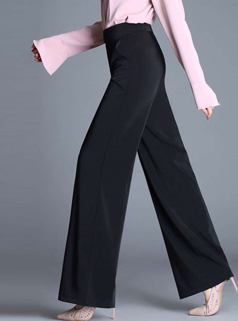Solid Color High Waist Wide Leg Pants