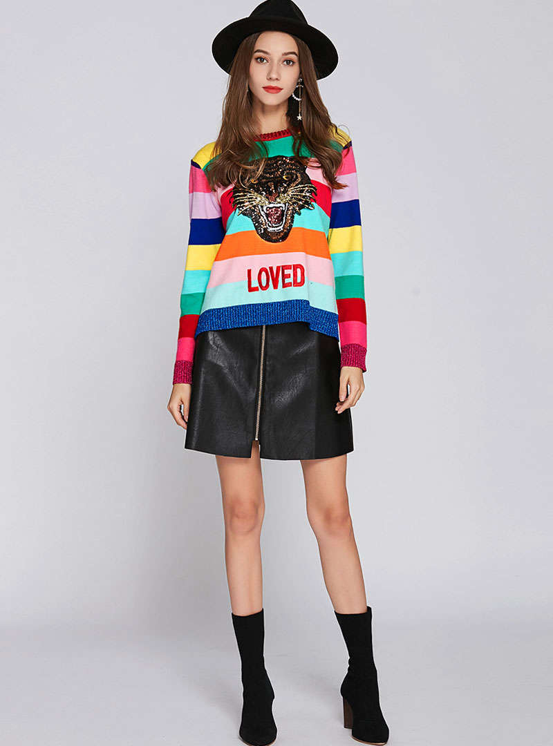 Multi-Color Stripes Sequin Knitted Sweater