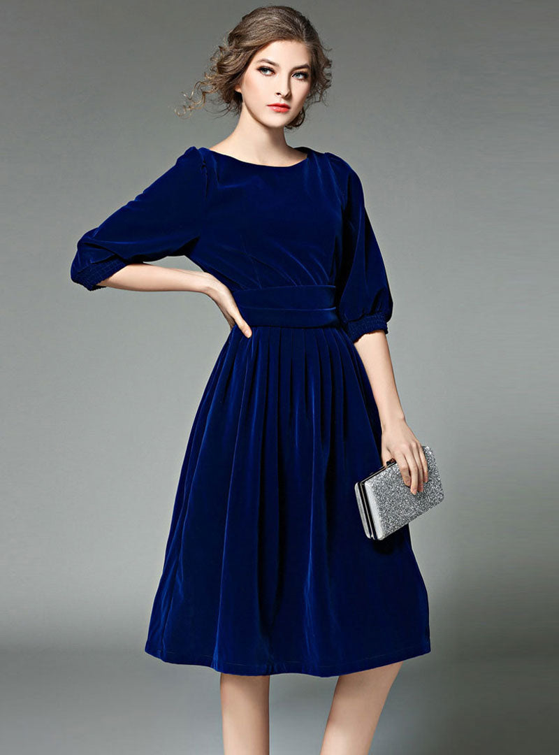 Solid Color Lantern Sleeve Ruffled Midi Dress