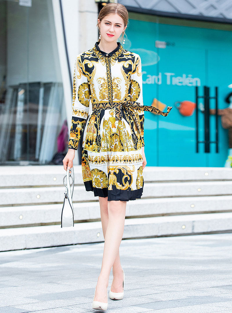 Yellow Printed Turn Down Collar Mini Dress