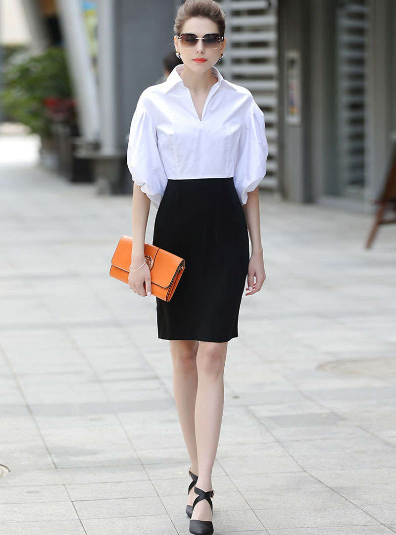 Match Color Puff Sleeve Sheath Mini Dress