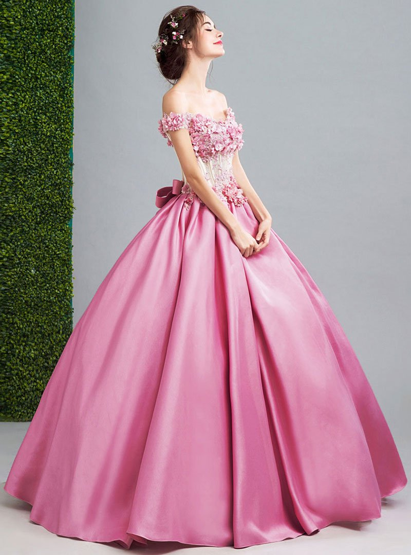 Pink Floral Embroidered Evening Dress With Bow