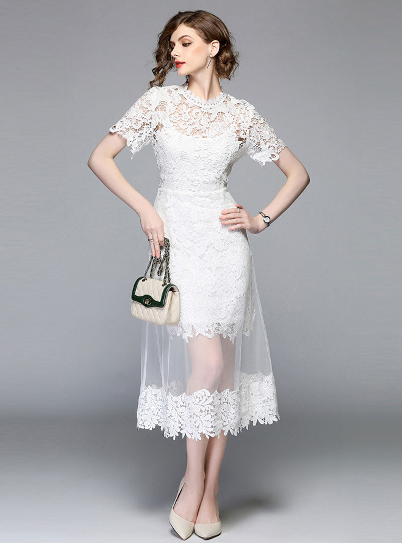 White Mesh Floral Lace Hem Midi Dress