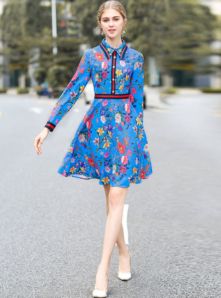 Blue Floral Printed Swing Shirt Dress