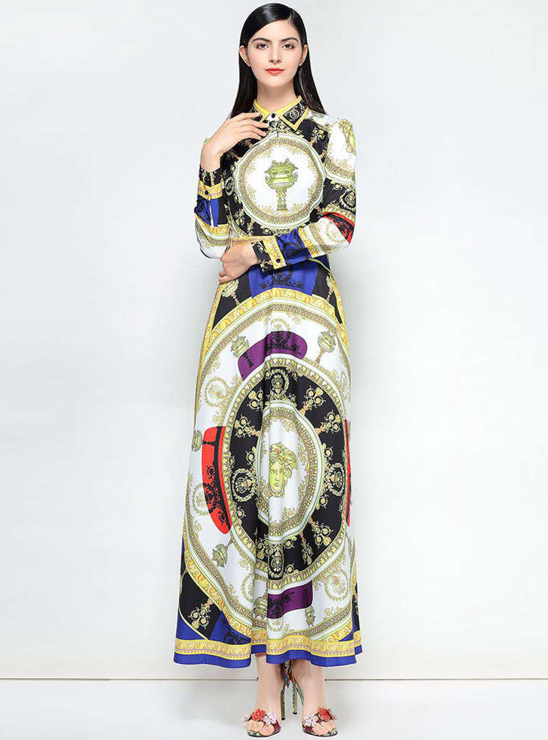 Multi Color Scenery Printed Maxi Dress