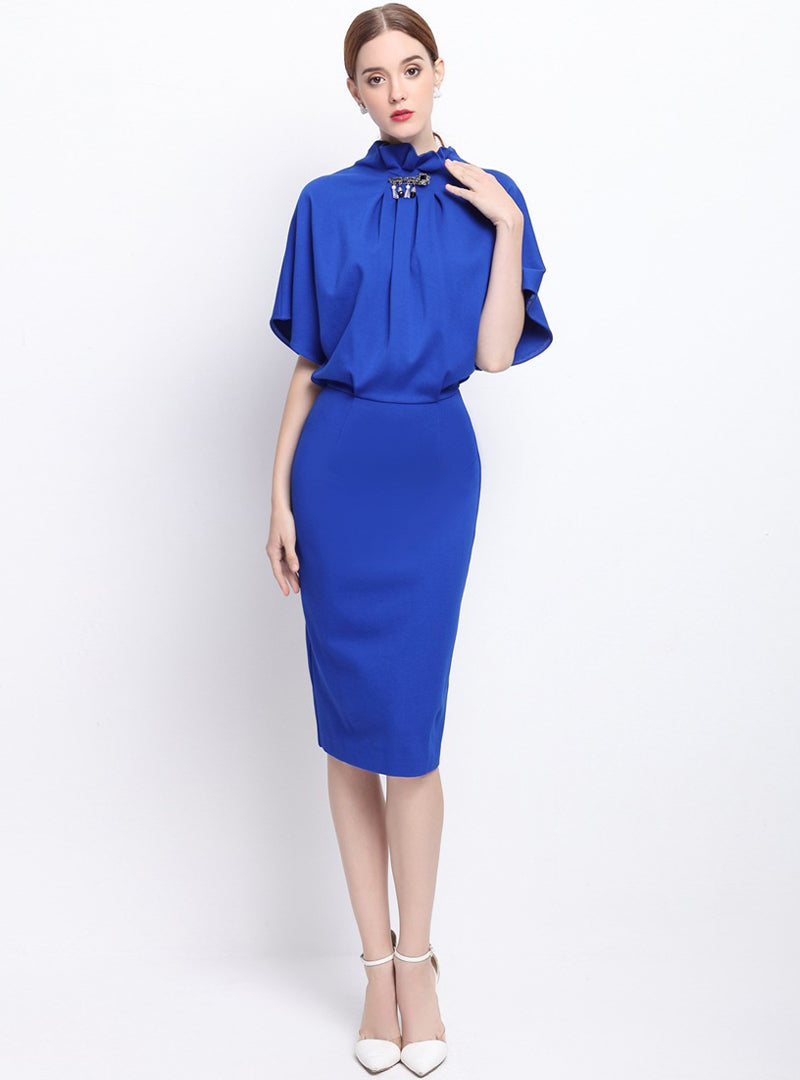 Blue Cape Sleeve Bodycon Dress