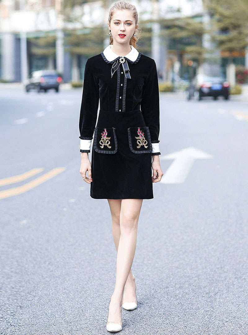 Black Embroidered Velvet Shirt Dress