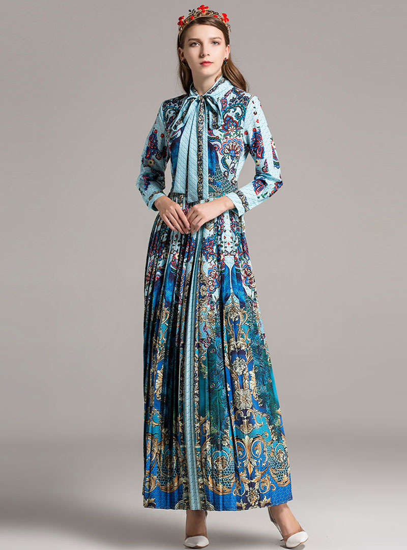 Blue Retro Floral Printed Pleated Swing Maxi Dress