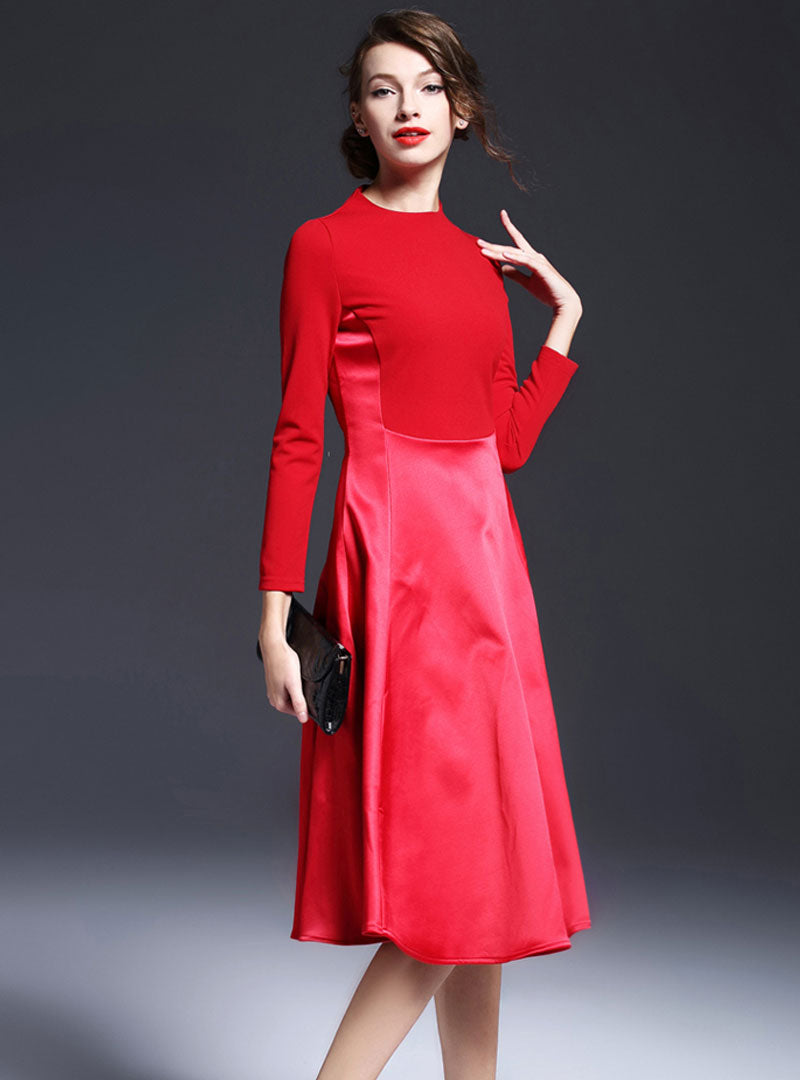 Solid Color Spliced Cinched Waist Midi Dress