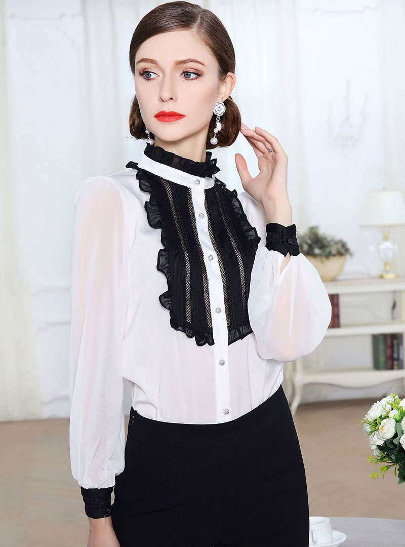 Ruffle Neck Lantern Sleeves Blouse