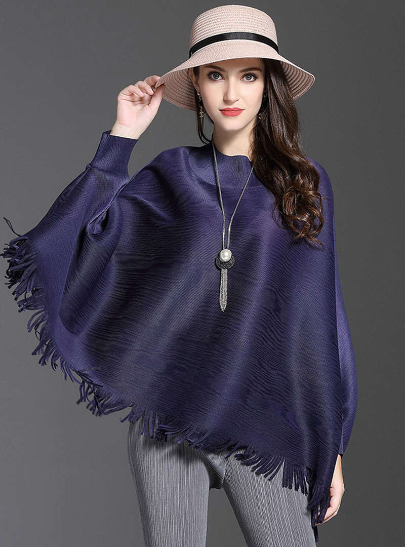 Solid Color Loose Tassels Blouse