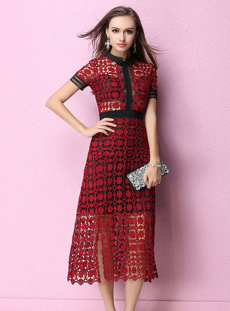 Solid Color Hollow Out Lace Midi Dress