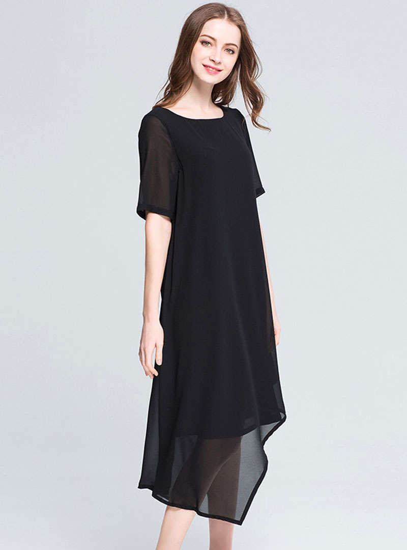 Solid Color Irregular Chiffon Midi Dress
