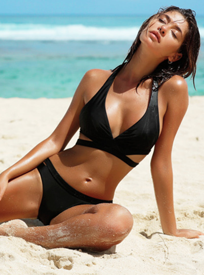 Black Striped Women's Bikini Set