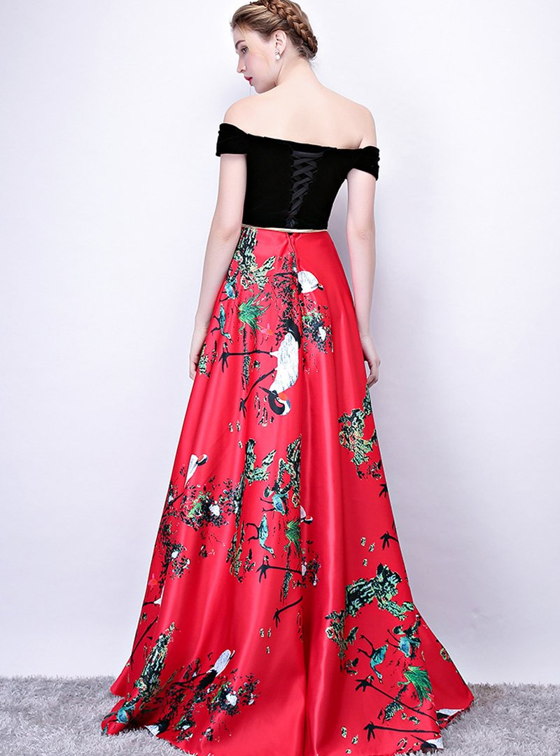 Matching Color Floral Printed Evening Dress
