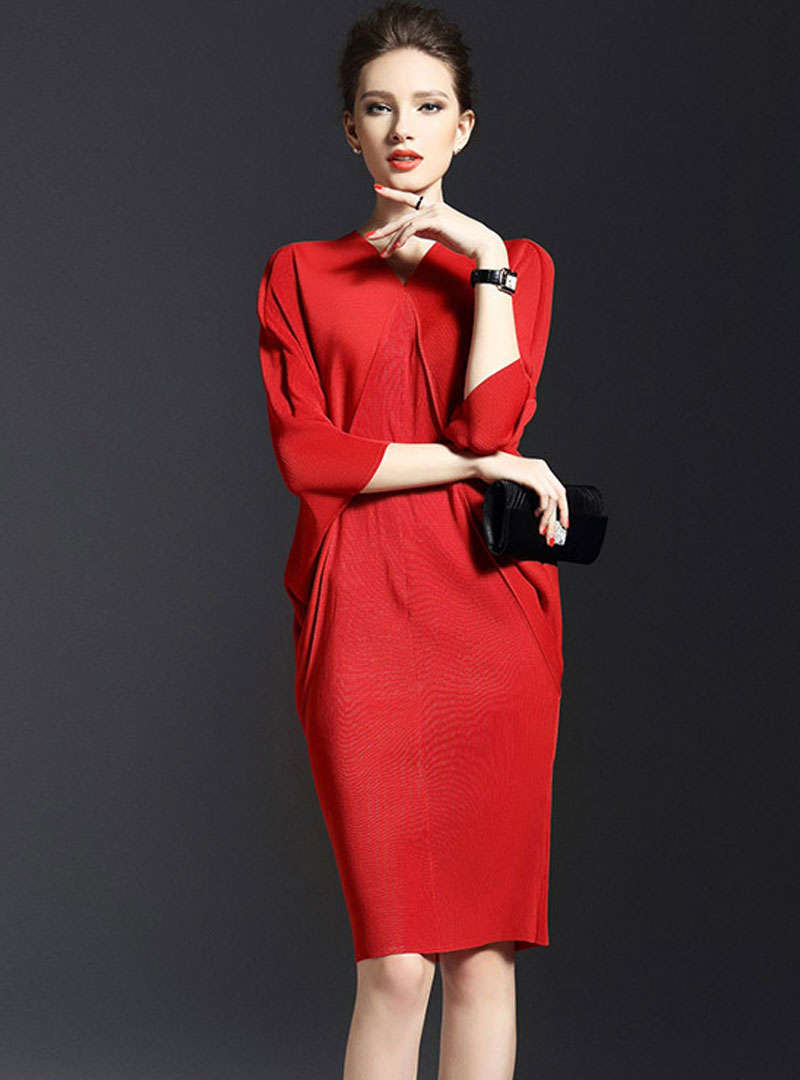Solid Color Batwing Sleeve Bodycon Dress