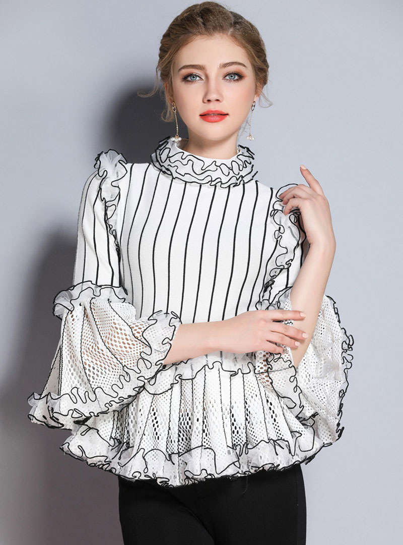 Cinched Waist Flare Sleeve Striped Blouse