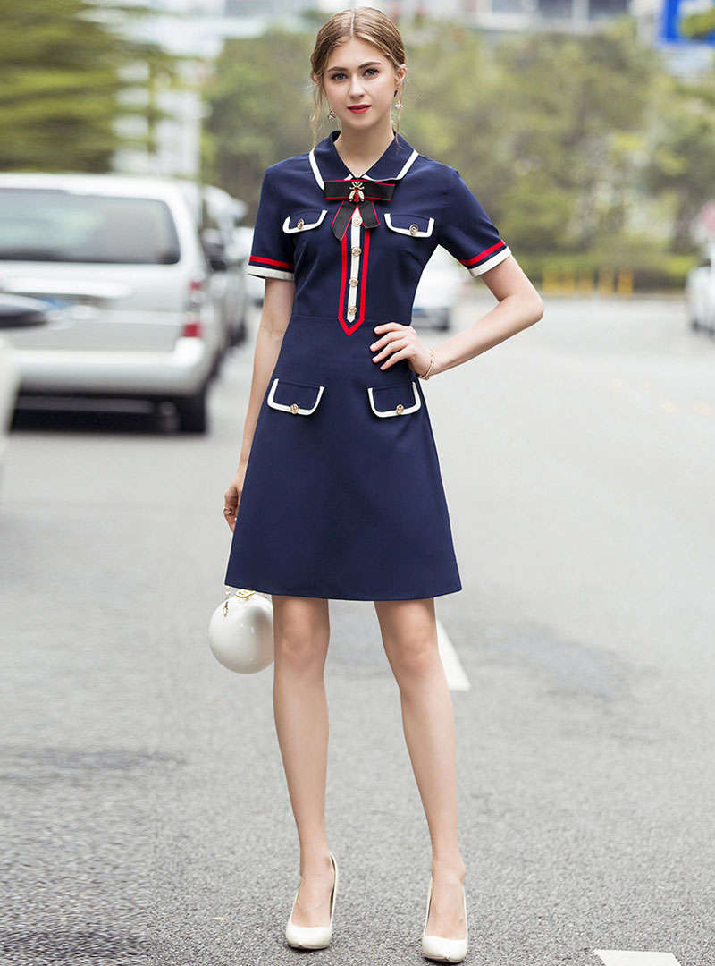 Matching Color Bow Neck Shirt Dress