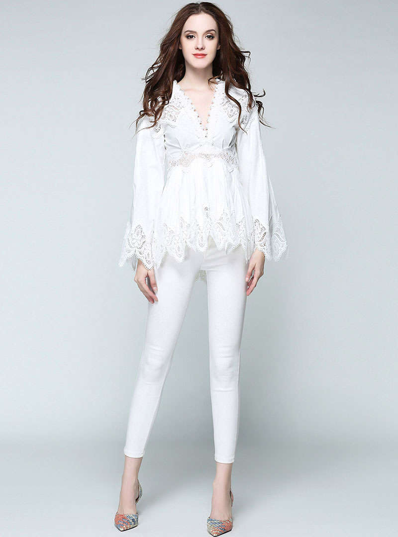 V-Neck Mandarin Sleeves Lace Blouse
