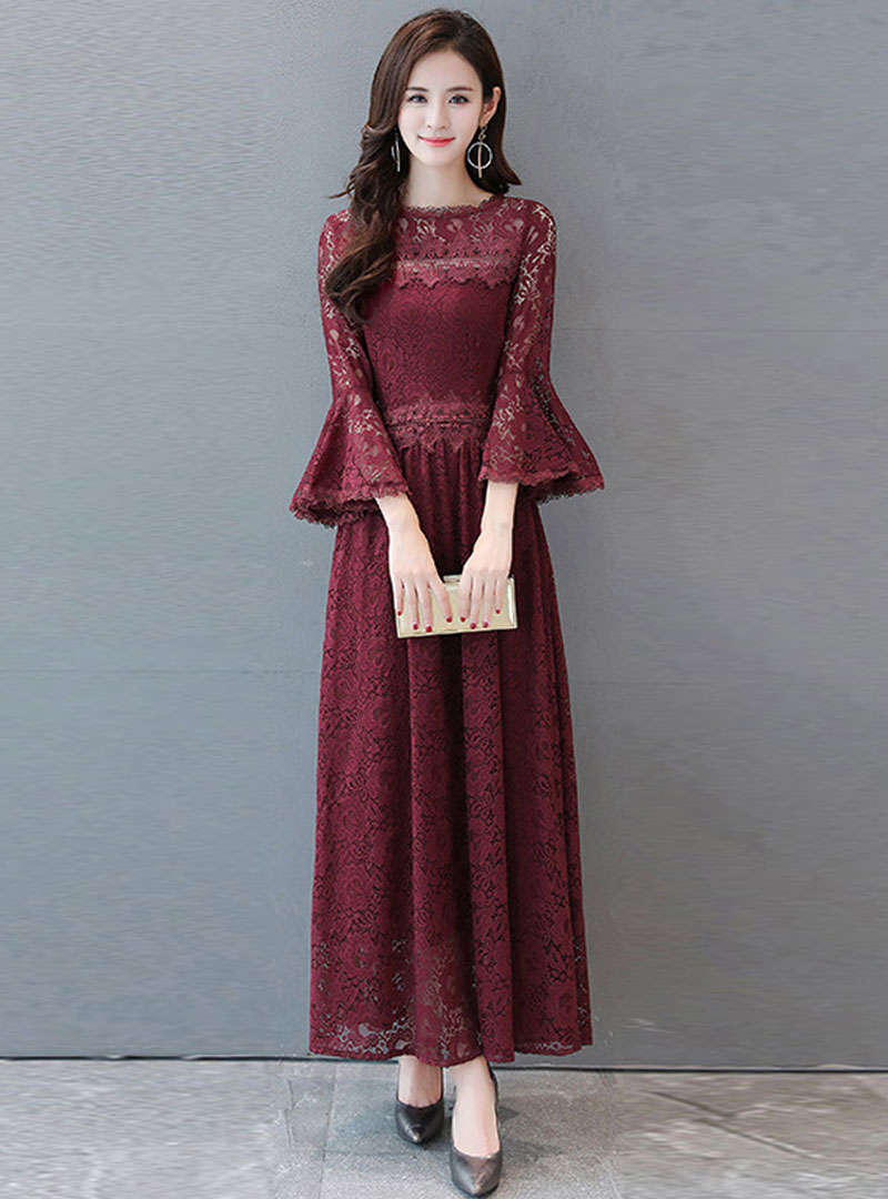 Solid Color Flare Sleeve Lace Maxi Dress