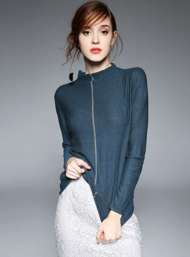 Solid Color Round-Neck Sweater