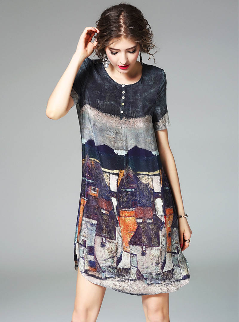 Multi Color Scenery Printed A-Line Mini Dress