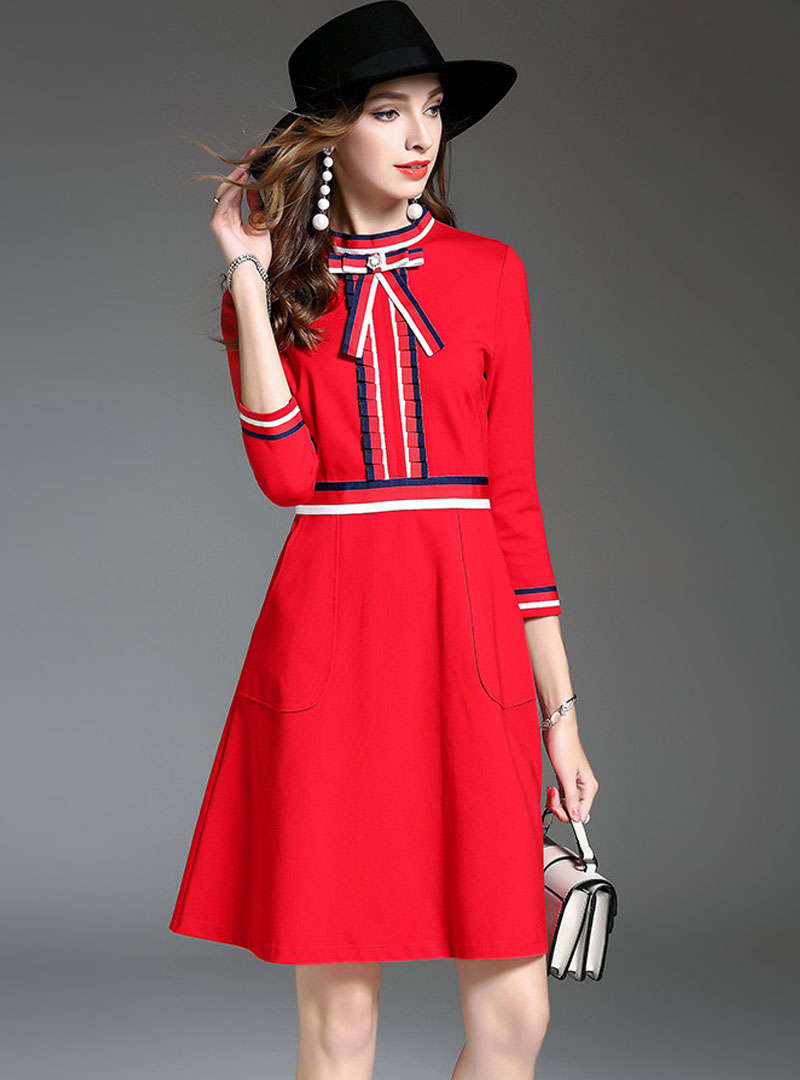 Bow Neck Cinched Waist Mini Dress