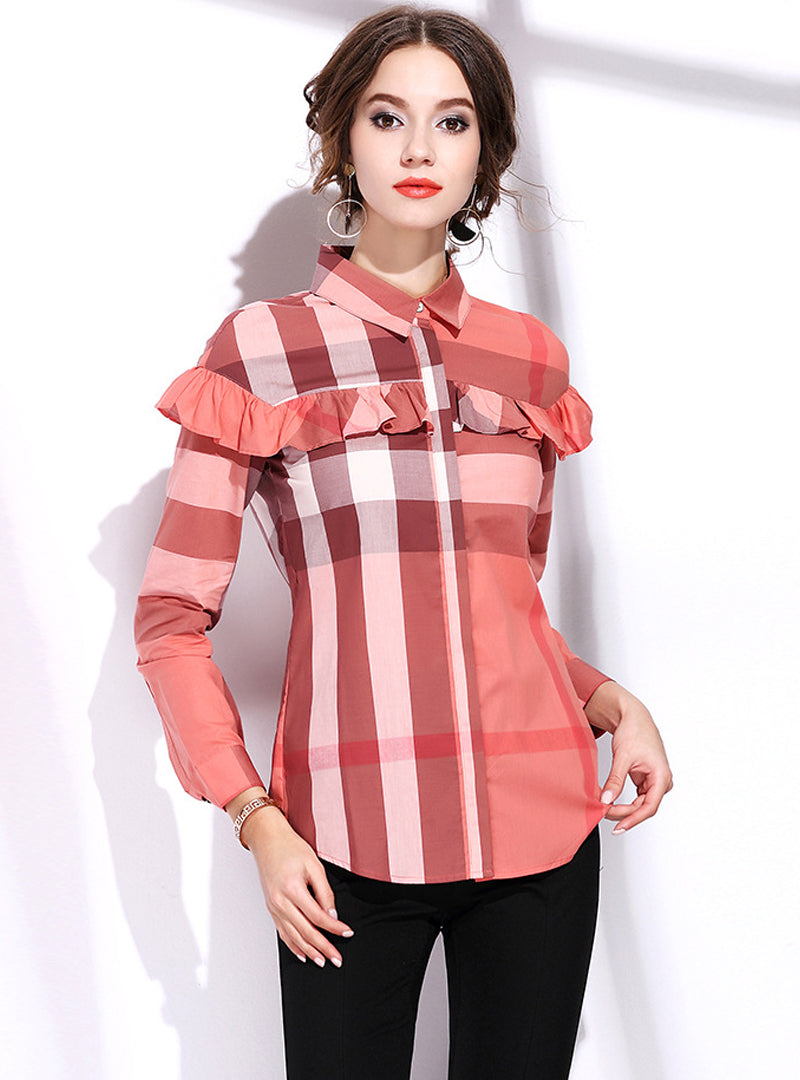Gride Printed Long Selleeve Blouse