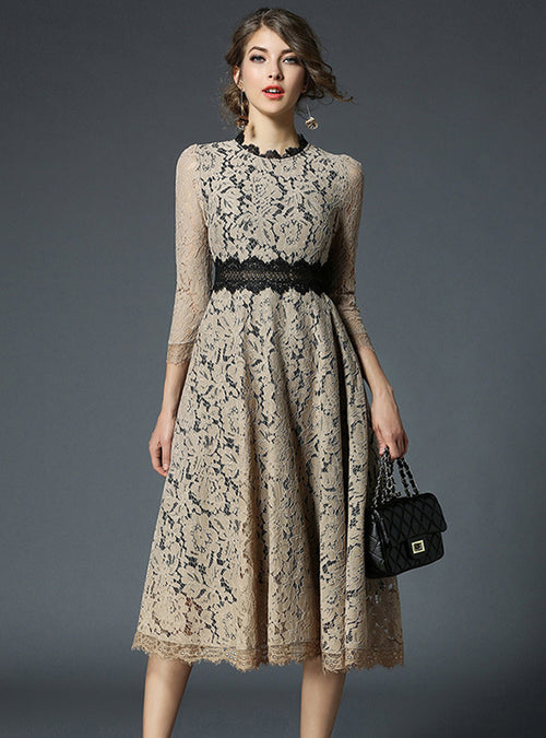 Beige Lace Hollow Out Midi Dress