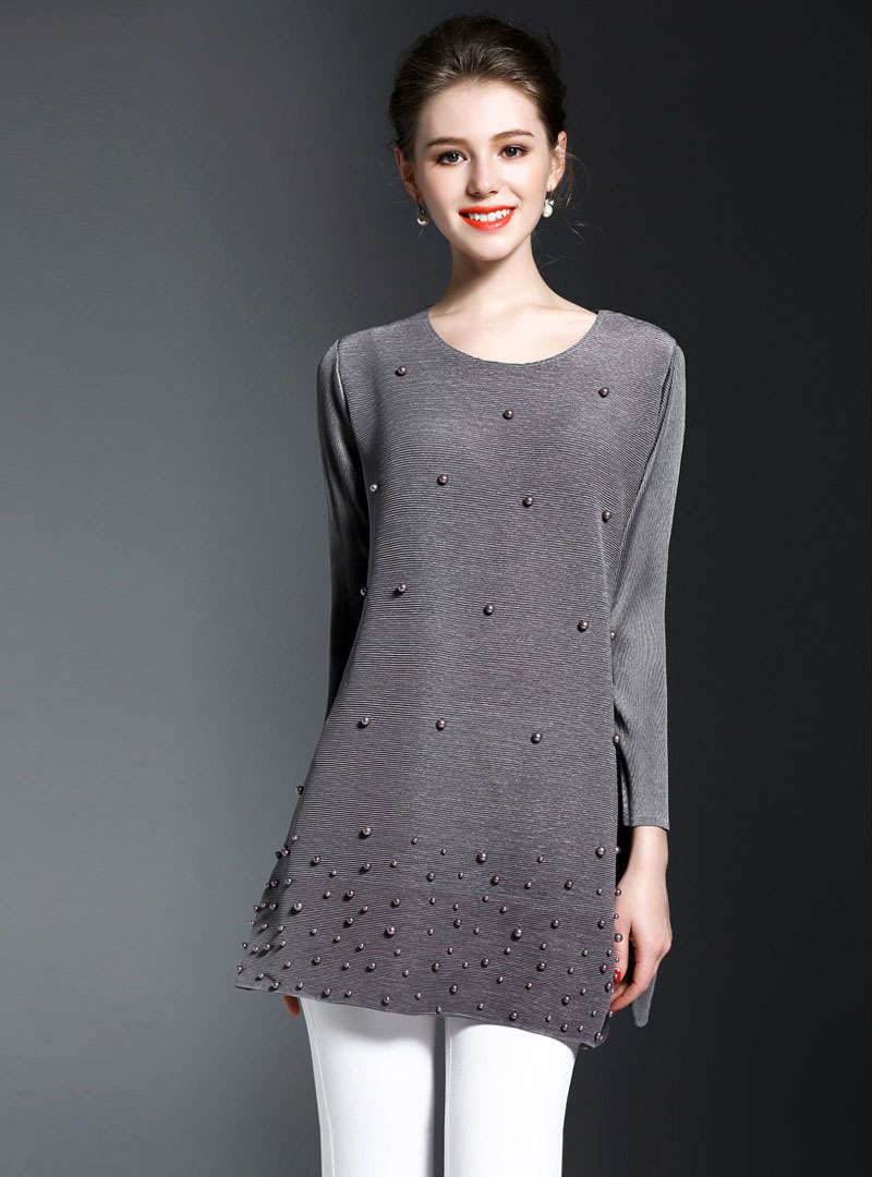 Solid Color Beaded Daily Loose T-Shirt