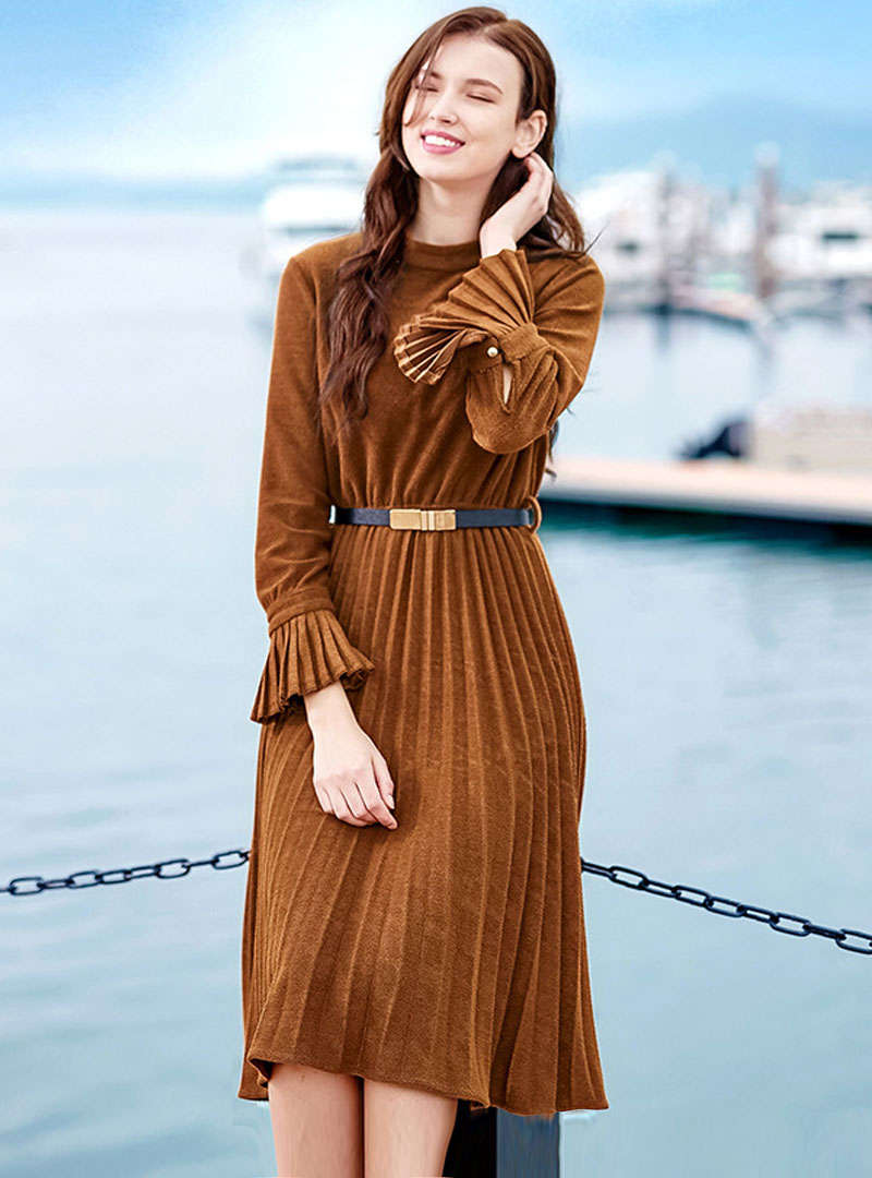 Solid Color Flare Flare Sleeve Pleated Woolen Midi Dress