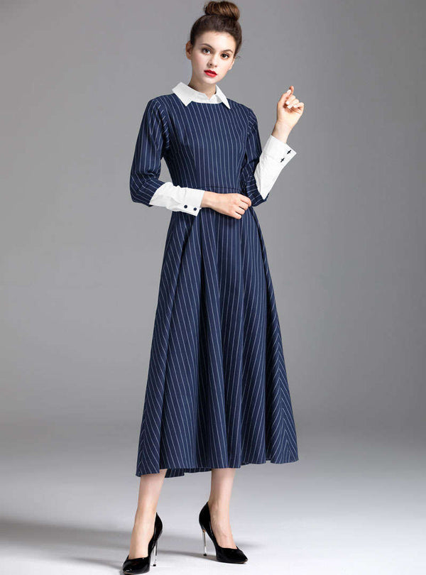 Blue Striped High Waist Swing Shirt Dress