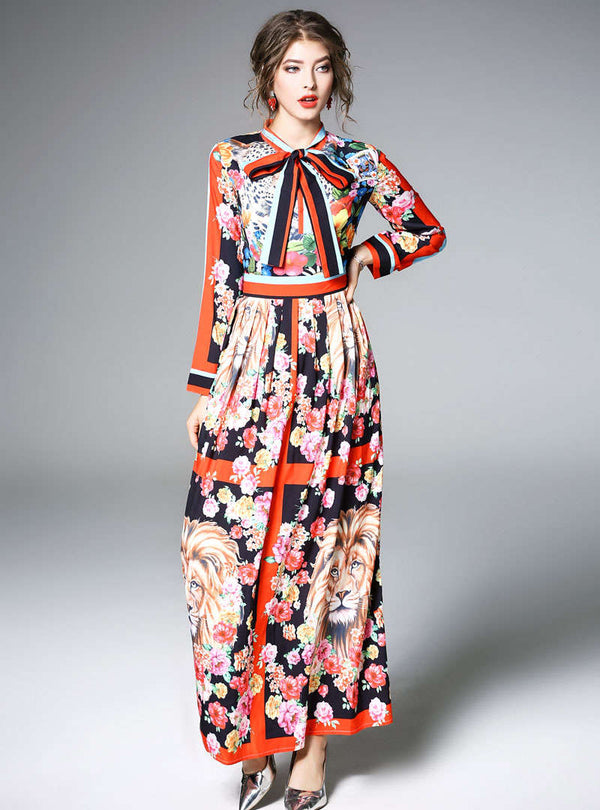 Multi Bow Neck Floral Printed Maxi Dress