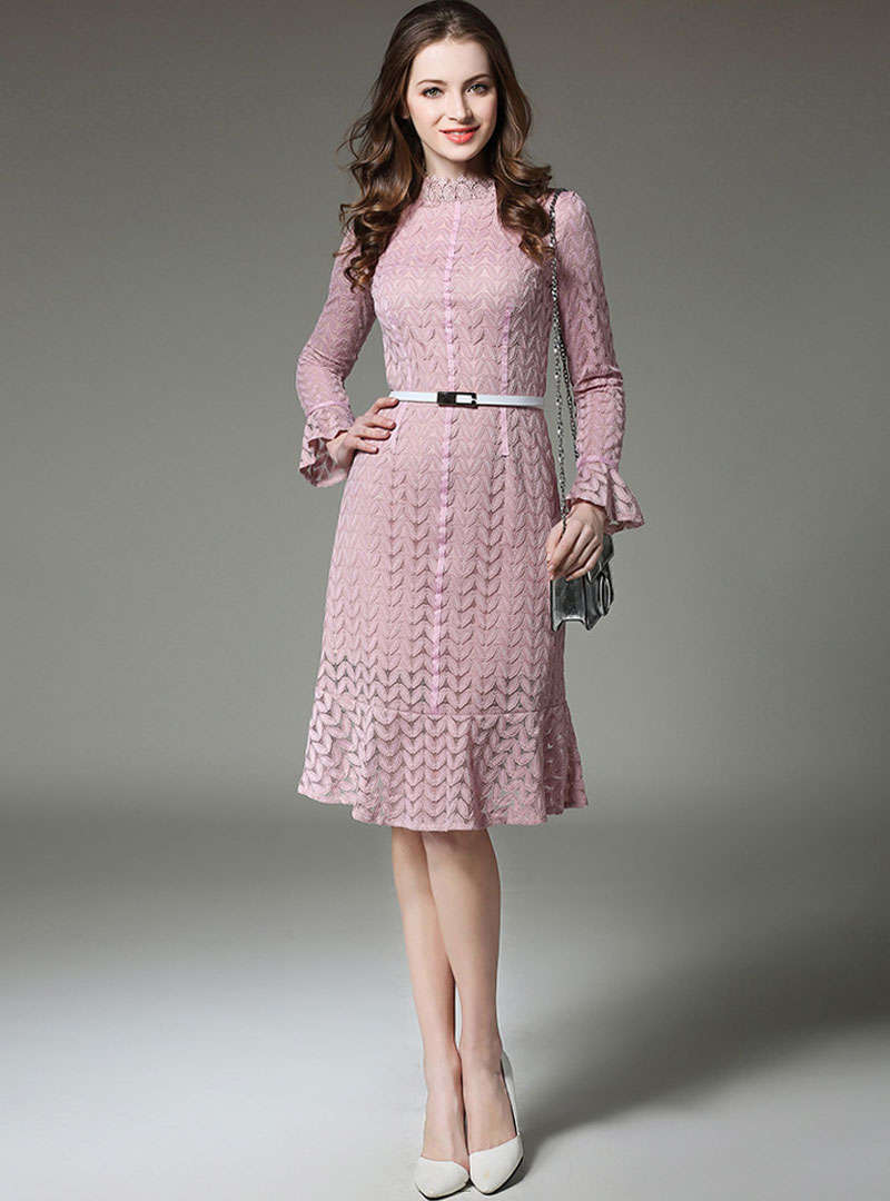 Solid Color Falbala Sleeve Midi Dress With Ribbon