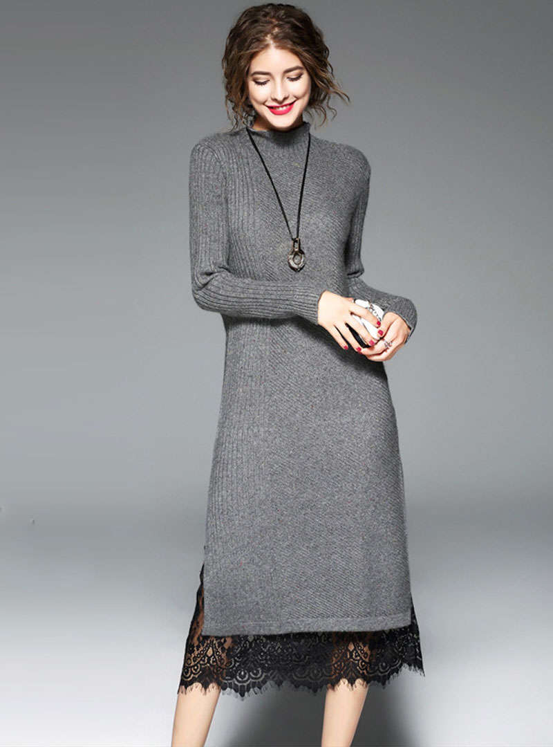 Lace Spliced Split Midi Knitted Dress