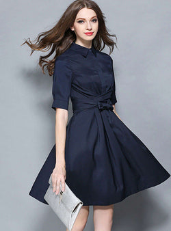 Navy Blue Cinched Waist Mini Dress