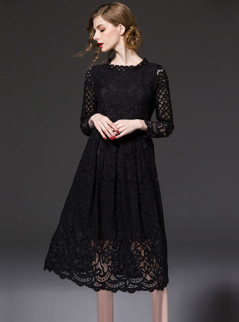 Black Lace Belted Sheath Hollow Out Maxi Dress