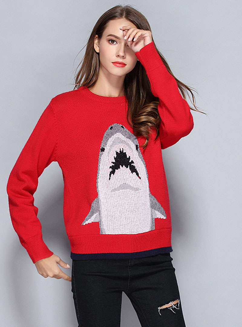 Red Shark Printed Loose Cashmere Sweater