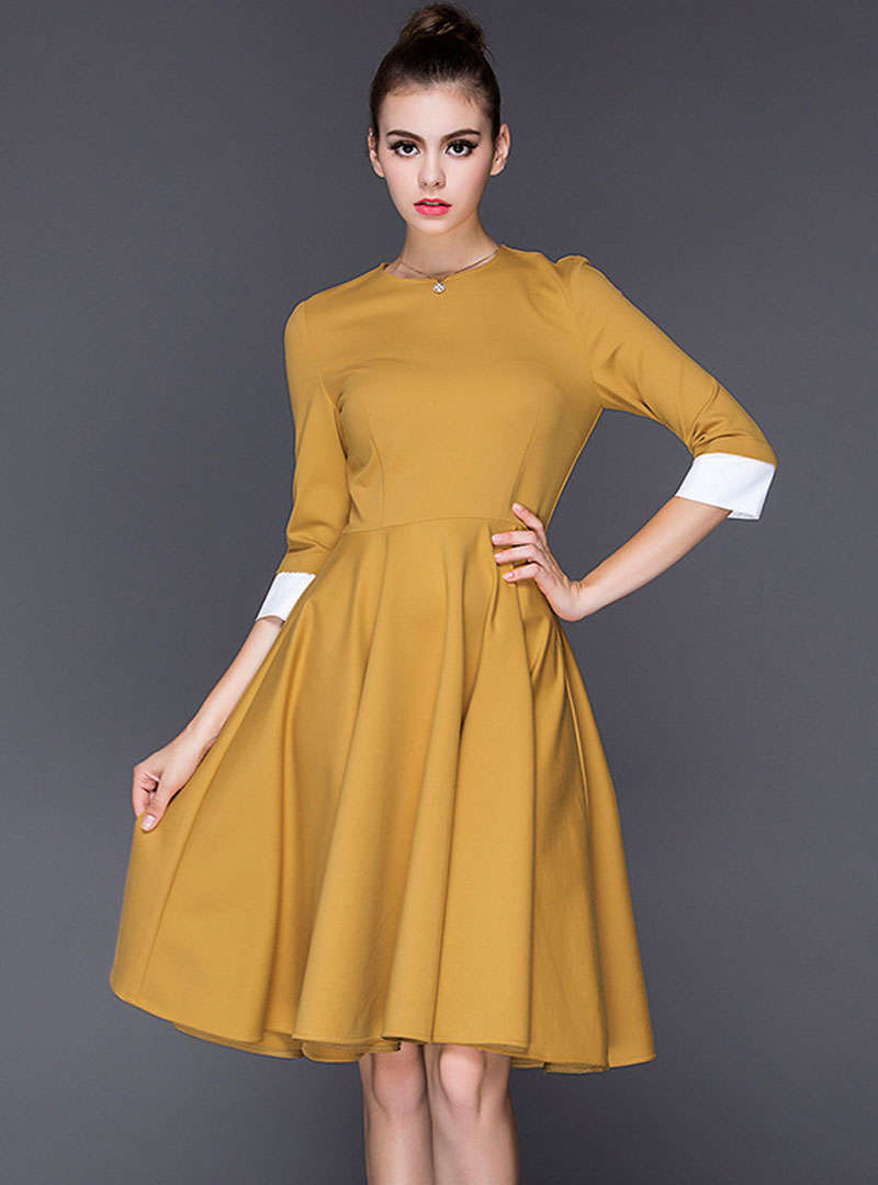 Solid Color Pleated Hem Swing Midi Dress