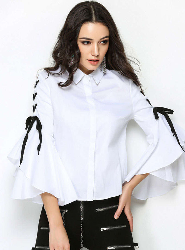 White Basic Lace-up Flare Flare Sleeve Blouse