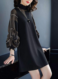 Black Plaid Loose Lantern Sleeves Mini Dress