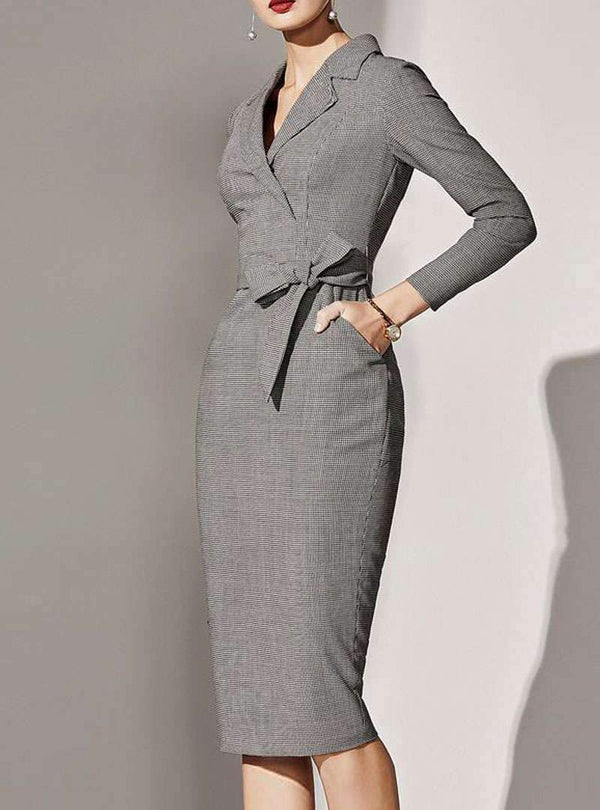 Grey Tie Waist V-Neck Bodycon Midi Dress