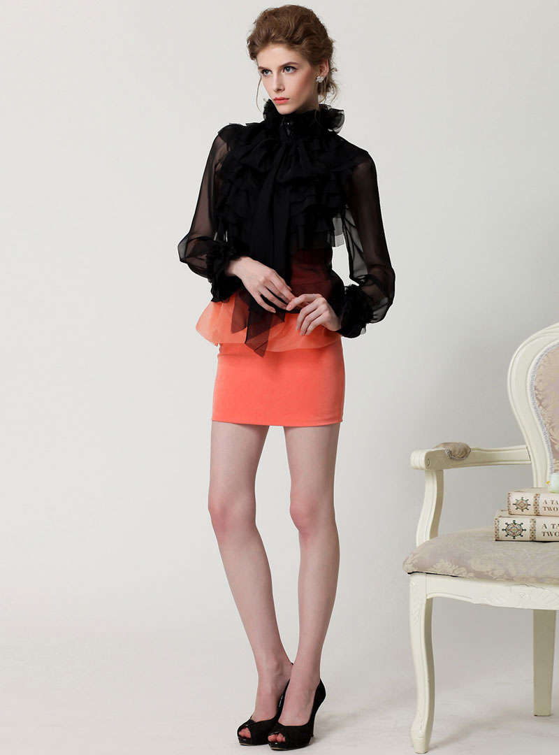Black Hollow-out Flare Sleeve Blouse